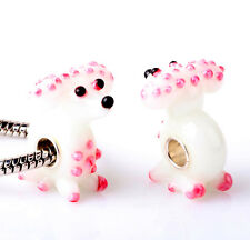 1pcs SILVER MURANO GLASS BEAD LAMPWORK Animal fit European Charm Bracelet ZZ316