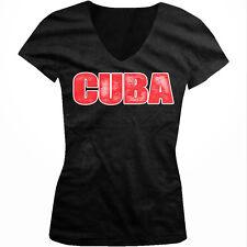 Distressed Cuba Block Letters - Cuban Pride Flag Colors Juniors V-neck T-shirt