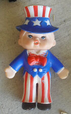 "Vintage 1975 Rubber Regent Baby Products Uncle Sam Boy Squeeky Toy 6 1/2"" Tall"