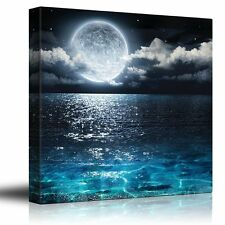 Big Moon Illuminating the Clear Ocean Blue - Canvas Art Home Decor- 24x24 inches