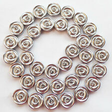 J0054077 Beautiful 12x4mm Carved Silver Hematite Flower Loose Bead 15.5 inch