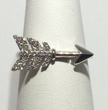 CUTE! Boho Style CZ SOLID 925 sterling Silver Arrow Ring Sz 9
