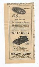 Wolseley Original Advertisement removed from a 1948 Magazine 25 18/85 14/60