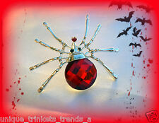 RED SPIDER PIN BROOCH~WOMENS HORROR HALLOWEEN COSTUME ACCESSORY WITCH VAMPIRE