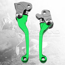 Green Pivot Brake Clutch Levers For Kawasaki KX250 1990-04 KX125 1990-2005 2001