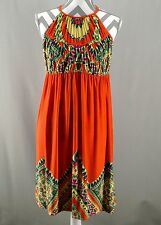 Muse for Boston Proper 14 Dress Orange Halter Graphic Print Womens kfp1