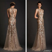 Glamorous Mermaid Sequined Appliques Evening Dresses Party Prom Gown Custom made