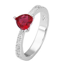 Elegant Red Heart Love Zircon Silver Plated Ring large size 18 mm Q / 8 FR147