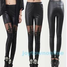 2016 HOT FASHION Women's Gothic Lace-Up Faux PU Leather Leggings Tight Pants New