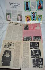 LOT OF PATTERNS MAGAZINE CLIPPINGS & ARTICLES FOR ETHNIC CULTURAL COSTUMED DOLLS