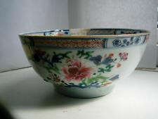 Medium size Chinese Famille Rose porcelain slop bowl flowers staple repair C1790