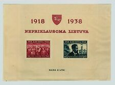 1938 Lithuania Souvenir Sheet 20th Anniversary of Independence Scott #309a
