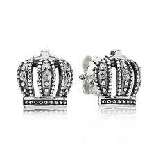 PANDORA Crown Stud Earrings 290539CZ Genuine Authentic