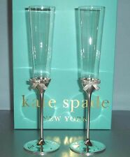 Kate Spade GRACE AVENUE Champagne Flute Pair Crystal & Silverplate Sculpted Bow