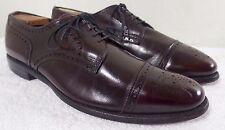 Allen Edmonds SANFORD Burgundy Leather Semi-Brogue Cap Toe Shoes sz 10 D