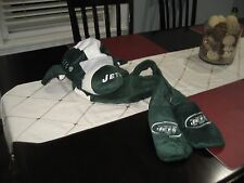 MENS/WOMENS NEW YORK JETS AIRPLANE MASCOT Dangle Hat with hand warmers plush NWT