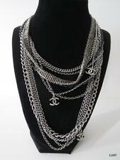 CHANEL Silver Gunmetal Gray Multi Strand Bib CC Cabochon Luxury Necklace EUC