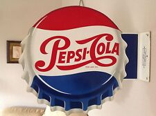 RARE ORIGINAL 1950'S PEPSI-COLA DOUBLE SIDED ENAMEL SIGN