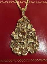 RaRe LARGE Vintage 14k Yellow Gold Nugget Estate Charm Heavy Mens Pendant 1 3/4""