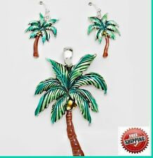 "+ Long 23"" Chain Silver Tn Tropical Palm Tree Pendant Necklace Earrings Africa"