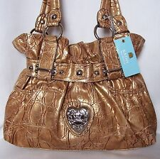 NEW Kathy Van Zeeland MEDUSA Croc Embossed Belt Shopper Handbag BRONZE GOLD