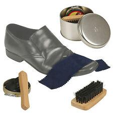4 In 1 Black Shoe Shine Polish Kit Travel Set Gift Box Cleaning Brush Portable