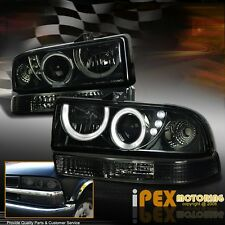 98-04 Chevy S10/Blazer Smoke Halo Projector LED Headlight + Bumper Signal Light