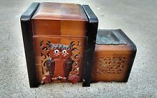 VINTAGE 1940s Japan Wooden Carved Cigarette Music Box Owl Mirror.