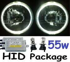 "WHITE 7"" Halo Lights & H4 55w Hi/Lo HID Kit for Nissan GQ Patrol Ford Maverick"