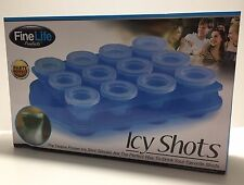 FineLife Party Perfect Icy Shots - 12-Piece Shot-Glass Ice Cube Mold Set