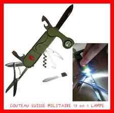 COUTEAU SUISSE MILITAIRE NEUF POCHE 13 MULTI FONCTIONS LAMPE BOUSSOLE COLLECTION
