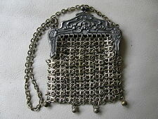 Antique Victorian Art Nouveau Woman Chatelaine Chain Mail Mesh Coin Purse #36