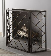 Geometric Button Lattice Fireplace  Fire Screen Hearth Iron Brass Accents 52""