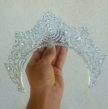 Beauty pageant Ariel little Mermaid clear SILVER CRYSTAL Back Head TIARA CROWN