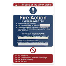 Fire Action In Case of Fire Sign 200 x 300mm Rigid  Signage Safety Signs