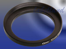 43mm-52mm Filter Adaptor Ring Converts 43mm lens thread to 52mm 43-52 Step-Up