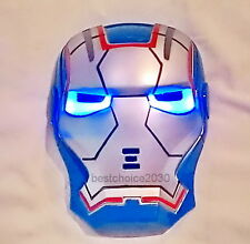 NEW BLUE IRON MAN LED LIGHT UP MASK FOR PARTY COSTUME COSPLAY, FOR KIDS TOY