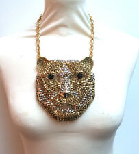 Butler and Wilson Gold Silver Tiger Leopard Head PendantNecklace COUTURE LAST 1