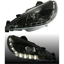 PHARES FEUX AVANT DEVIL EYES NOIR LED H4 H7 PEUGEOT 206 1.1 1.4 1.6 XR XT XS
