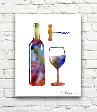 Wine Abstract Watercolor Painting Art Print by Artist DJ Rogers