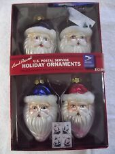 Hand-Painted License  US Postal Service Holiday Ornaments  Set of 4
