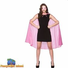 PINK SUPER HERO CAPE + MASK SHORT BANDIT Adult Womens Ladies Fancy Dress Costume