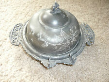 VINTAGE SILVERPLATE CHEESE SERVER WITH GLASS INSERT PLATE/EAGLE SILVERPLATE CO.