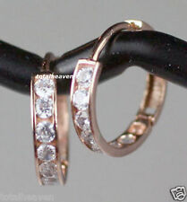 NEW 14mm Small Solid 14K Pink Rose Gold Clear CZ Huggies Hoop Earrings SPARKLING