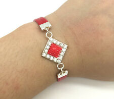 Jewelry Charm Fashion Gift Red Box Rhinestone Leather Bracelet Plated Silver#4
