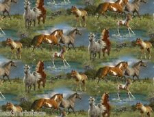 Springs Creative ~ HORSES Camden Yard Scenic 100% Cotton Quilt Fabric BTY