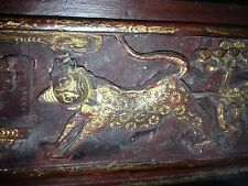 Beautiful Vintage Chinese Asian Hand Carved Gilt Painted Wooden Panel Detailed!