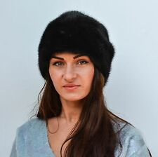 Luxurious Saga Furs Black Mink Ladies Winter Fur Beanie Hat