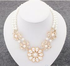 Ivory Pearl Necklace Choker with Flower
