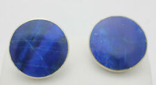 Sterling Silver .925 Simple Very Cute Round Lapis Stud Earrings 6.1g i607